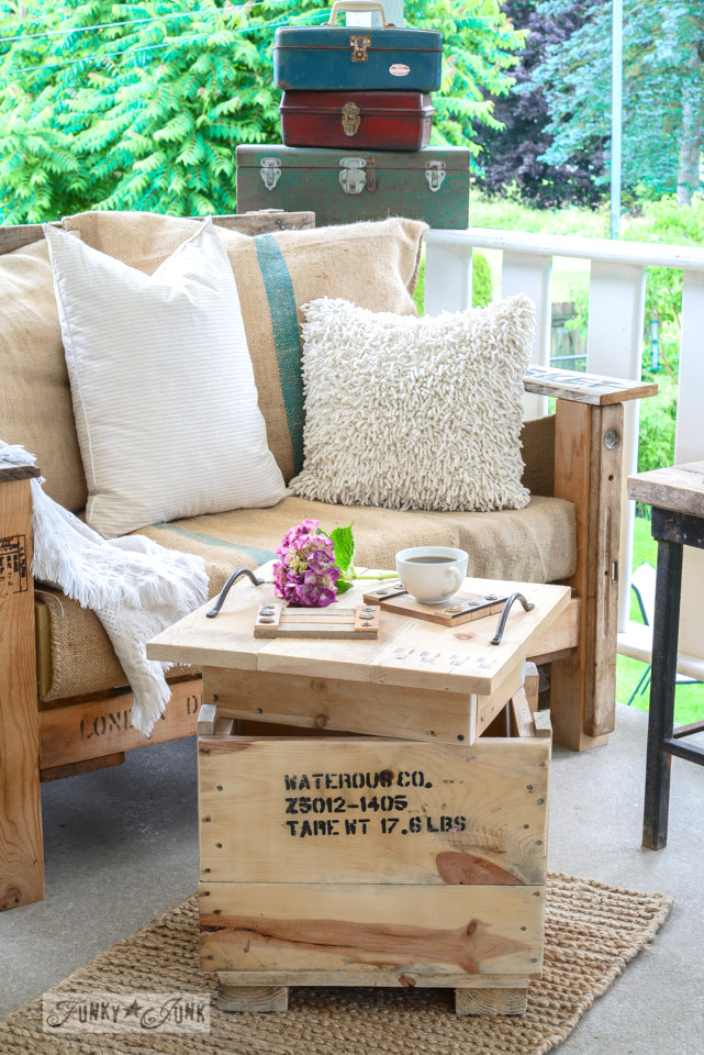 crate tray and sidetable for patio / Funky Junk's 2015 Summer Home Junk Tour / FunkyJunkInteriors.net