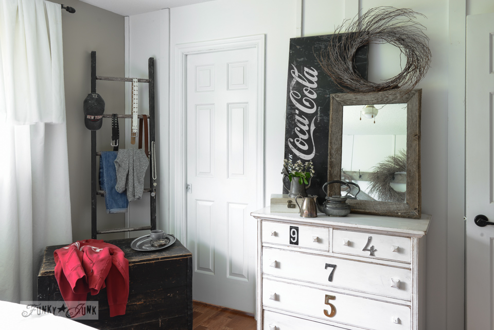 Ladder clothes rack and numbered bedroom dresser via via FunkyJunkInteriors.net