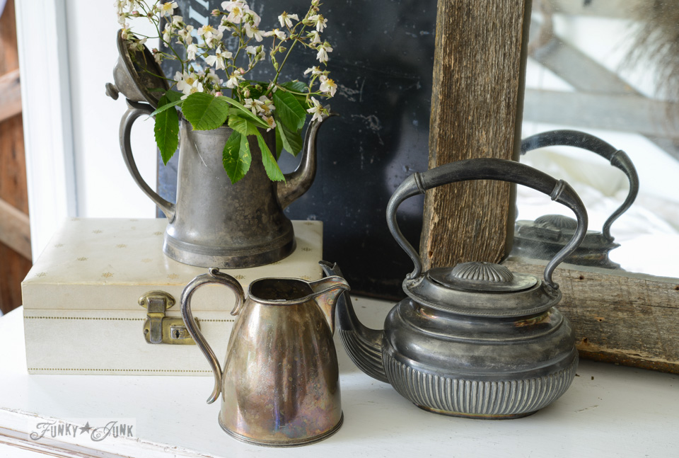 Silverware kettles for flowers in bedroom via via FunkyJunkInteriors.net