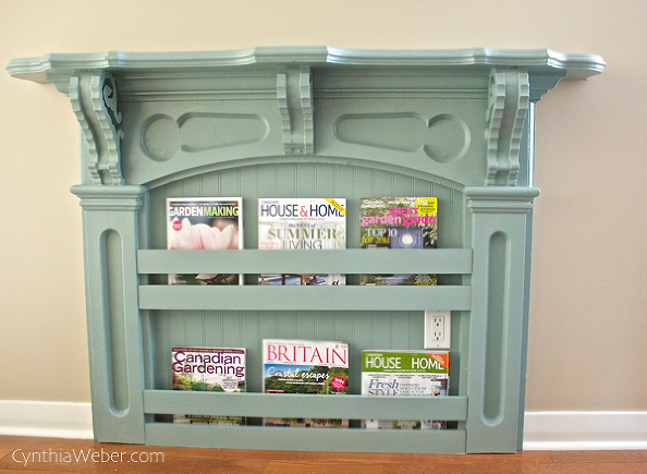 Mantel magazine rack by Cynthia Weber featured on FunkyJunkInteriors.net