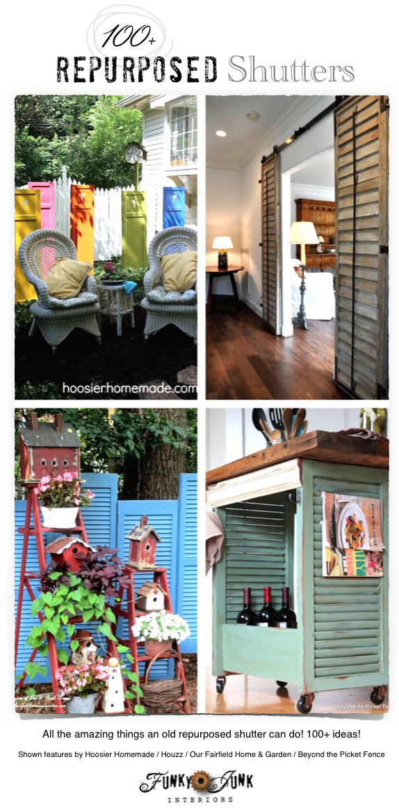 100 + Repurposed Shutters / sliding doors, furniture and beyond! via FunkyJunkInteriors.net