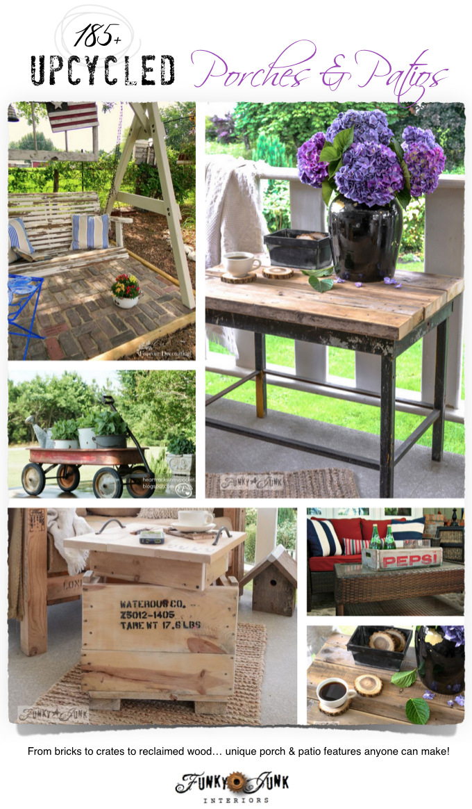 185+ upcycled porches and patios - bricks, crates, reclaimed wood and more! via FunkyJunkInteriors.net