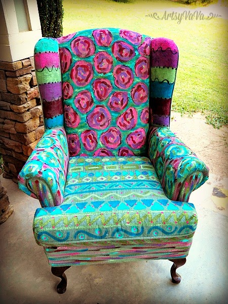 Hand painted wing chair by Artsy Va Va