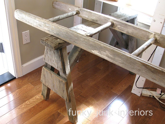 Sawhorse ladder desk / How to marry high tech with an upcycled twist on FunkyJunkInteriors.net