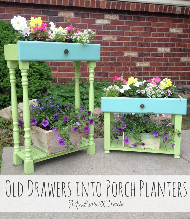 Drawer spindle planters by MyLove2Create