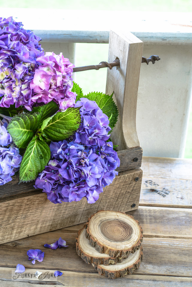 How to make a pallet wood drill handled toolbox planter via FunkyJunkInteriors.net