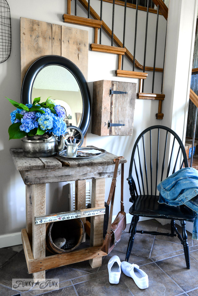 Front entry pallet and reclaimed wood table via FunkyJunkInteriors.net