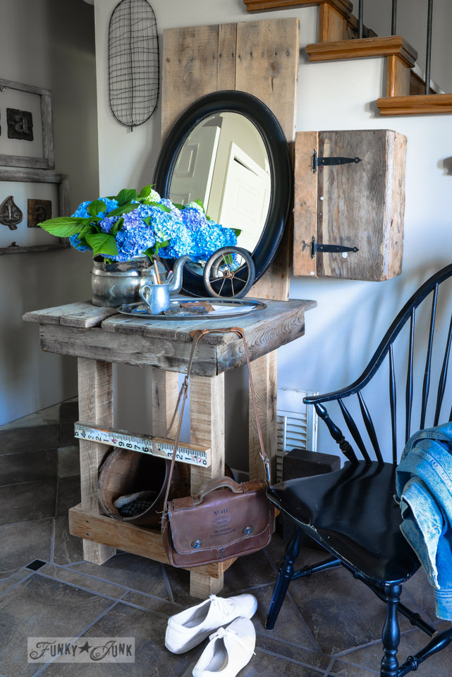 One gutsy junk style entry table made from who knows what!  via FunkyJunkInteriors.net