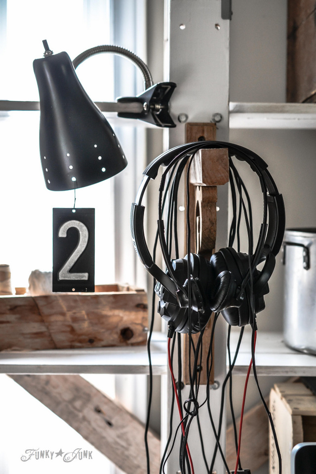Earphones on a rustic hook / How to marry high tech with an upcycled twist on FunkyJunkInteriors.net #Techoration