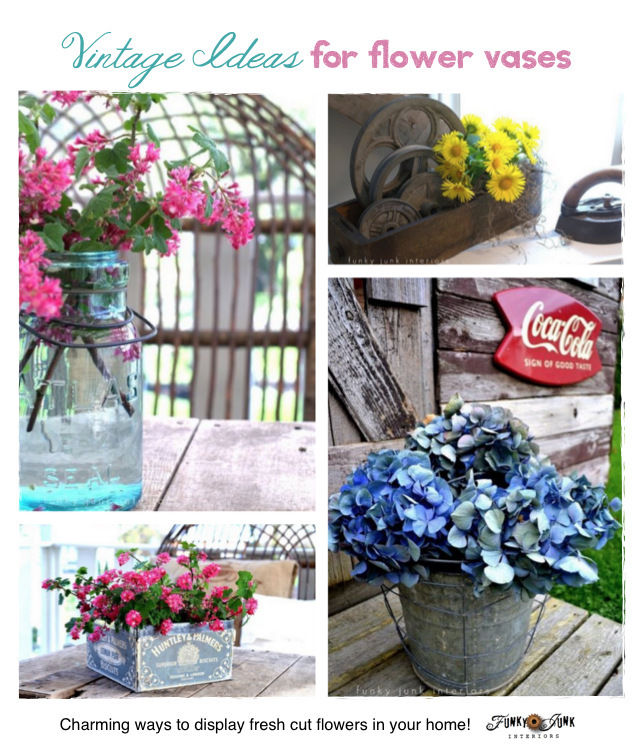 Decorating with fresh cut flowers vintage style, and where to find all these great containers! Written by Funky Junk Interiors for #ebay