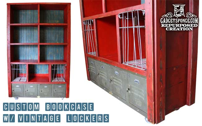 Custom bookcase with vintage lockers by Gadget Sponge
