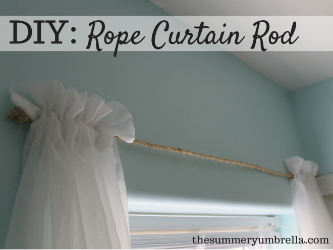 DIY rope curtain rod by the Summery Umbrella