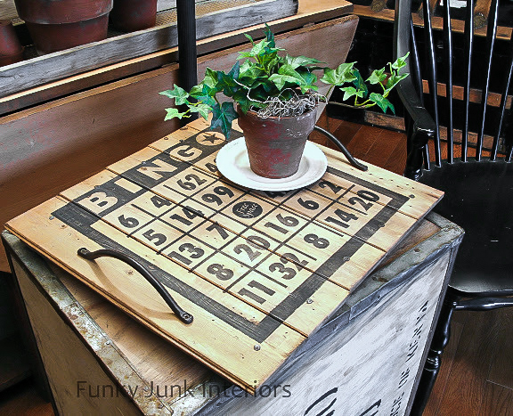 Pottery Barn inspired bingo board tray via FunkyJunkInteriors.net