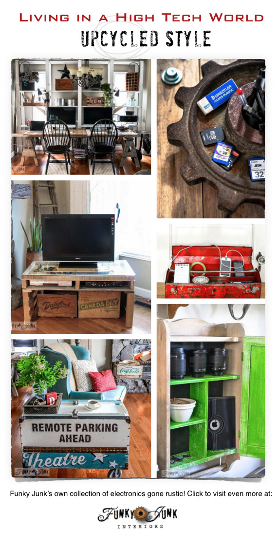 Living in a high tech world upcycled style! A collection of electronics gone rustic by FunkyJunkInteriors.net #Techoration