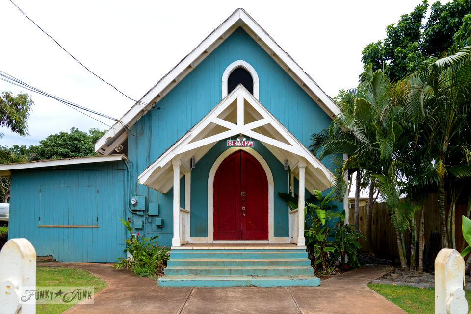 Teal church in Paia / Why you need to visit Paia, and other Maui tips / FunkyJunkInteriors.net