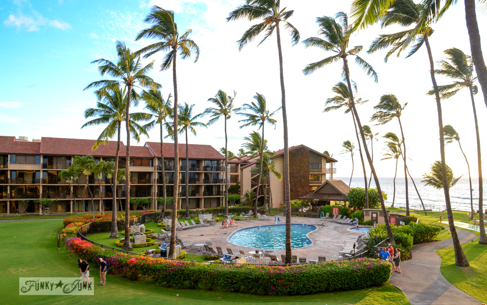 The pool view / Sunsets and sand at Papakea Resort in Maui. Beautiful beach and sunset photos via FunkyJunkInteriors.net