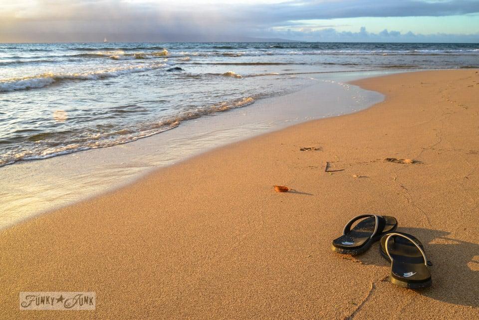 Sandy beach on the ocean at Papakea Resort Maui FunkyJunkInteriors.net