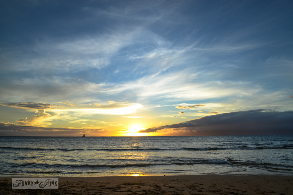 Tropical sunset / Sunsets and sand at Papakea Resort in Maui. Beautiful beach and sunset photos via FunkyJunkInteriors.net