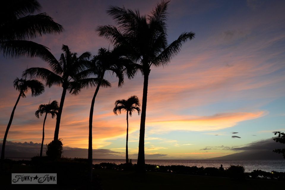 Tropical sunset / A tropical stay at Papakea Resort in Maui. Beautiful beach and sunset photos via FunkyJunkInteriors.net