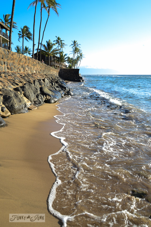 Beach front / Sunsets and sand at Papakea Resort in Maui. Beautiful beach and sunset photos via FunkyJunkInteriors.net