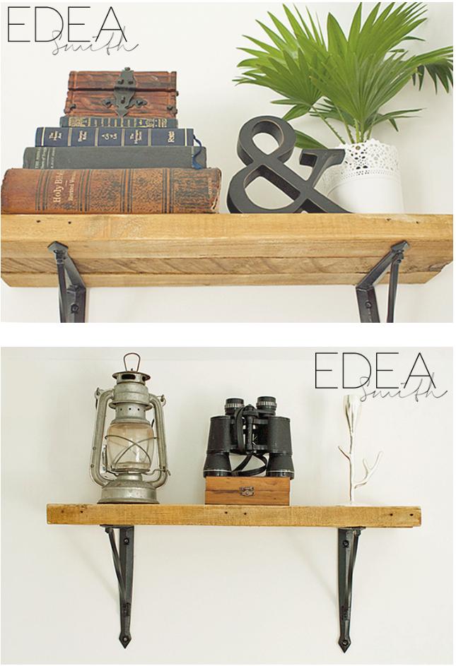 Reclaimed wood shelves by Edea Smith