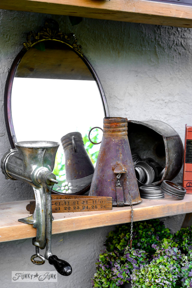 Meat grinder, antique mirror, folding yard stick / How to survive an antique auction - tips and see the loot! via FunkyJunkInteriors.net