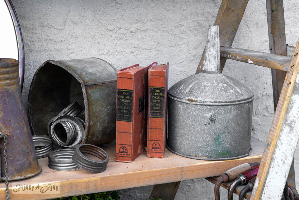 Old funnels and red books / How to survive an antique auction - tips and see the loot! via FunkyJunkInteriors.net