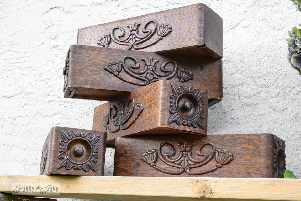 Antique carved sewing machine drawers / How to survive an antique auction - tips and see the loot! via FunkyJunkInteriors.net