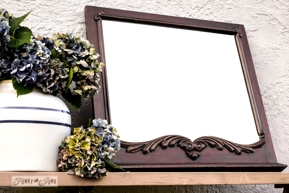 Antique wooden framed carved mirror / How to survive an antique auction - tips and see the loot! via FunkyJunkInteriors.net