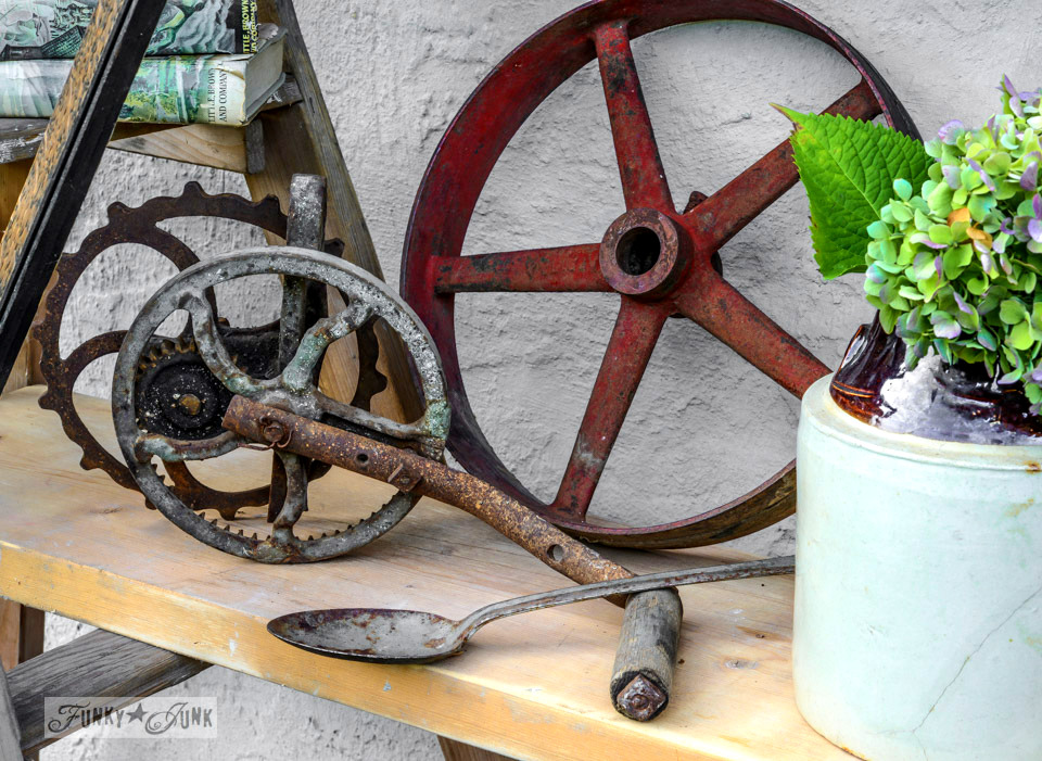 Rusty metal pulley and wheel / How to survive an antique auction - tips and see the loot! via FunkyJunkInteriors.net