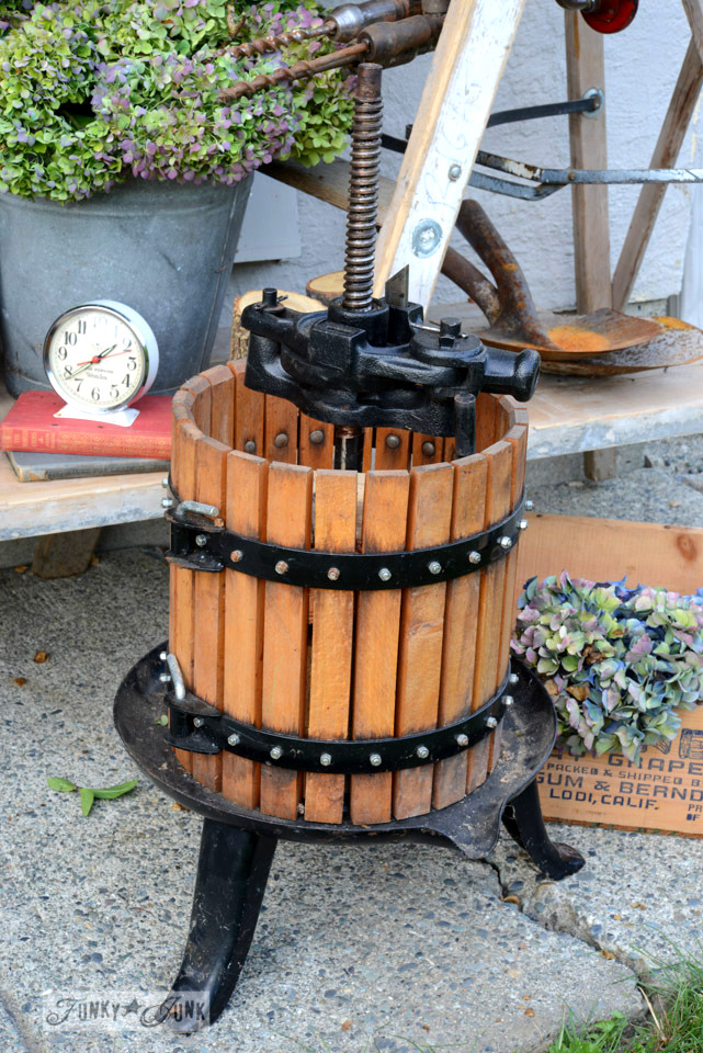 Antique butter churn / How to survive an antique auction - tips and see the loot! via FunkyJunkInteriors.net