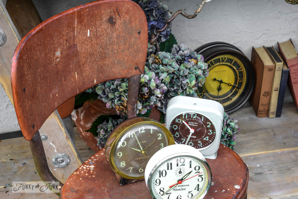 Antique step stool, clock collection / How to survive an antique auction - tips and see the loot! via FunkyJunkInteriors.net