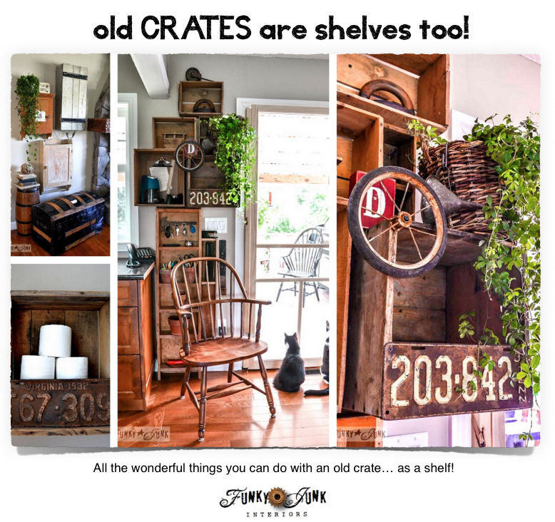 Old crates are shelves too! Inspiration and where to buy! By FunkyJunkInteriors.net on eBay