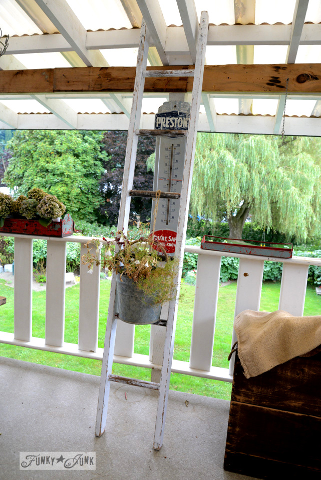 Before / Forever beautiful buckets of hydrangeas on a ladder /  via FunkyJunkInteriors.net