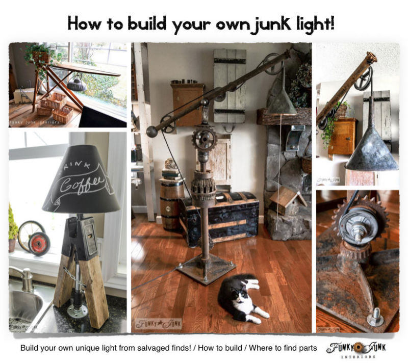 How to build your own junk light! by FunkyJunkInteriors on eBay