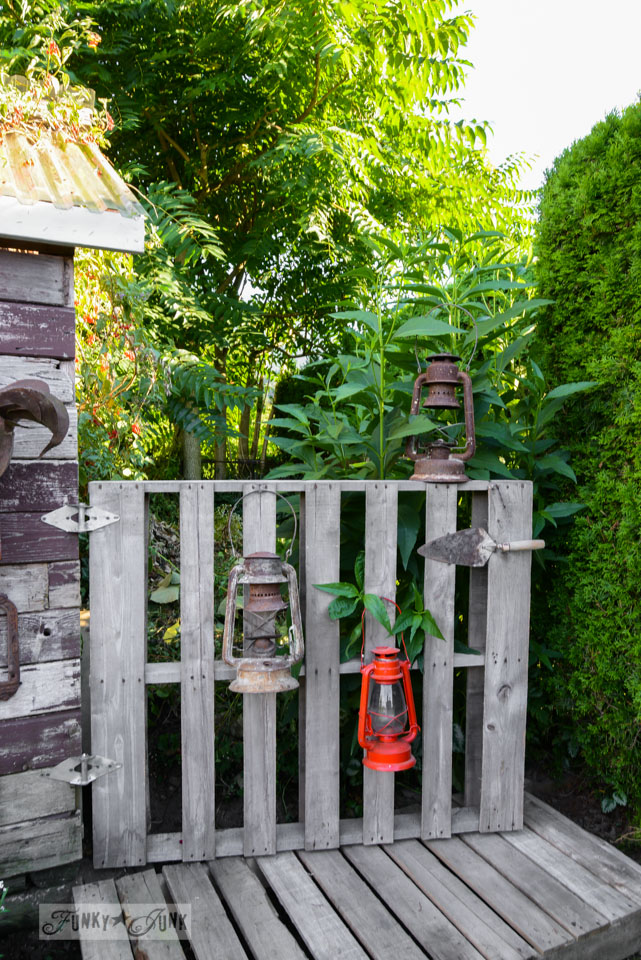 lanterns on a gate / A new pallet gate and boardwalk for the shed - make this in an hour! via FunkyJunkInteriors.net