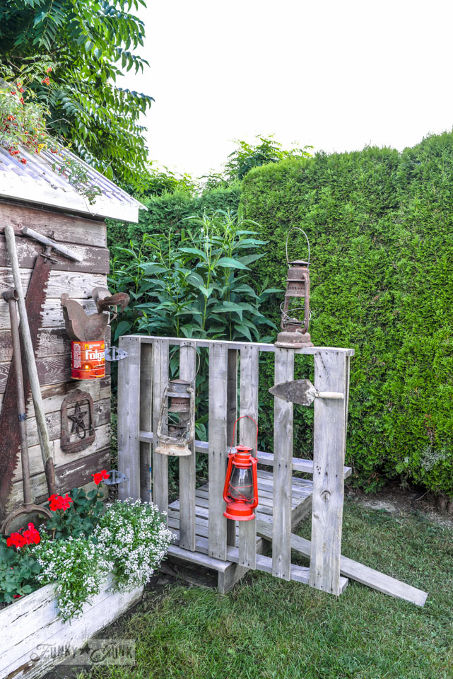 A new pallet gate and boardwalk for the shed - make this in an hour! via FunkyJunkInteriors.net