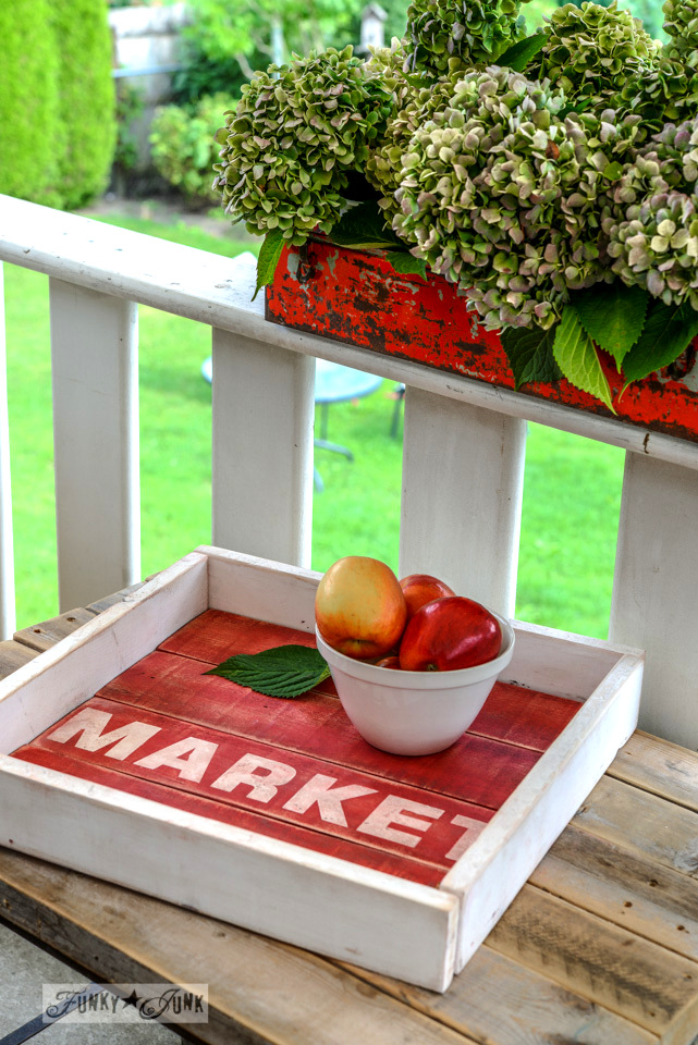 Pallet wood old sign tray in milk paint via FunkyJunkInteriors.net