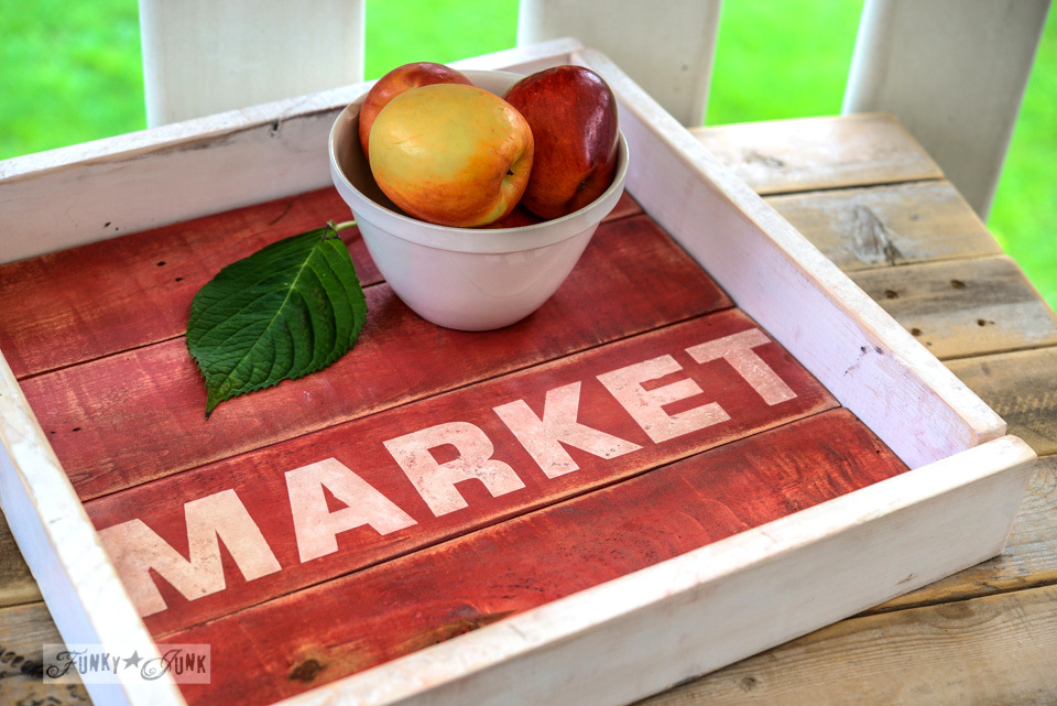 Red market tray with  Miss Mustard Seed White and Antiquing Wax / FunkyJunkInteriors.net