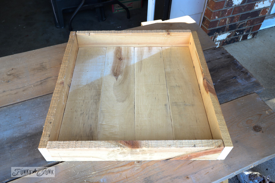 A milk painted pallet wood tray in tricycle / via FunkyJunkInteriors.net