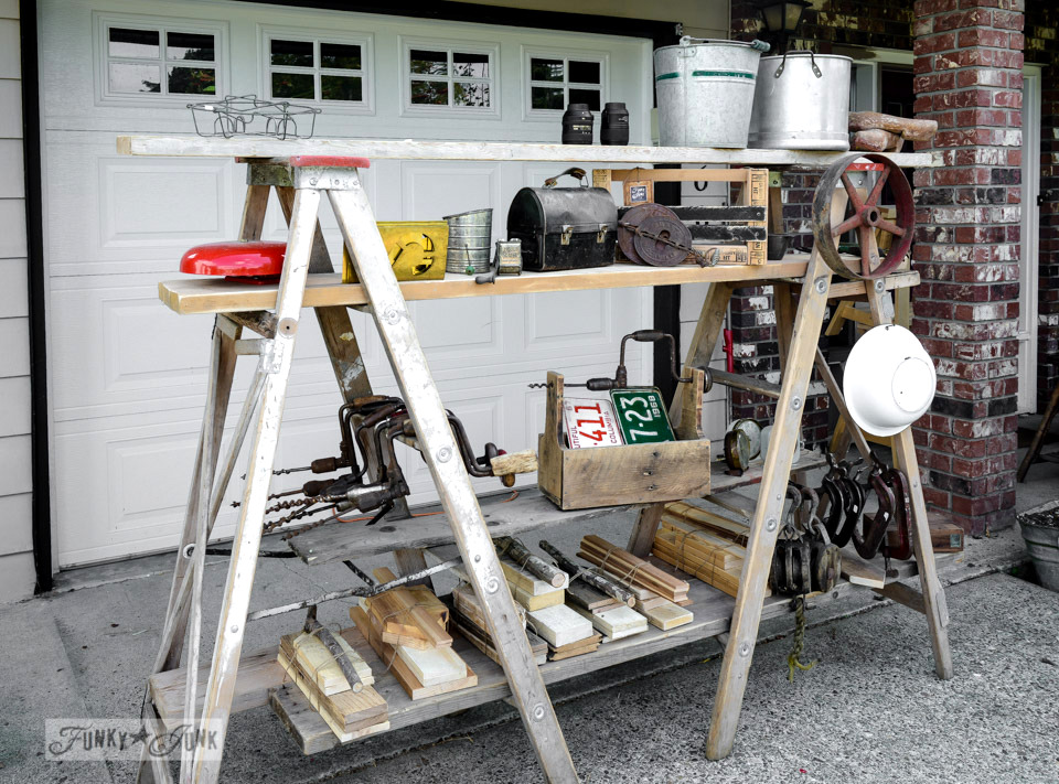 Ladder racks / Junk for sale, with a toolbox workshop at Crafty Affaire Market, via FunkyJunkInteriors.net