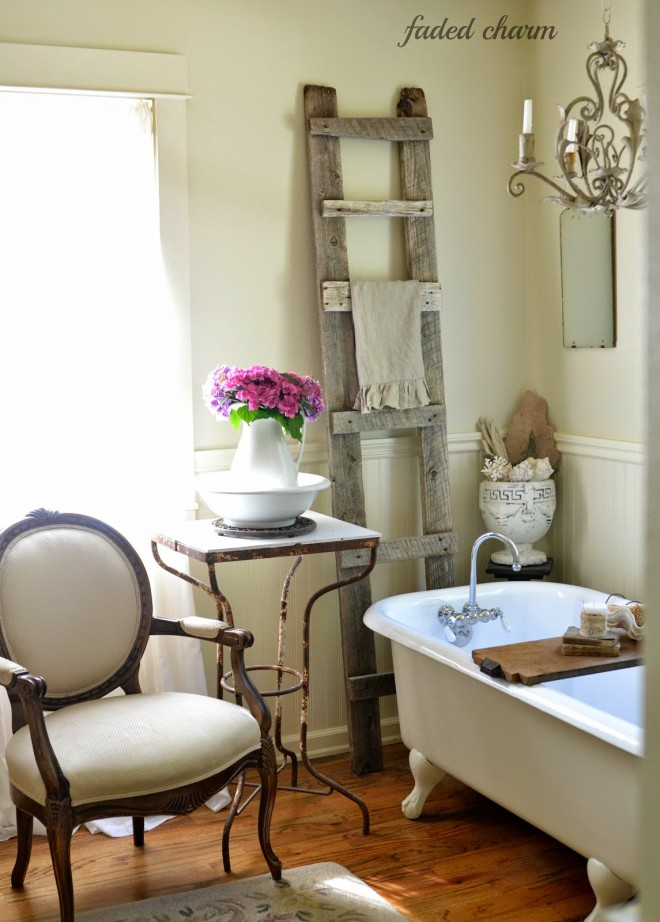 Rustic ladder and pretty hydrangeas in a vintage bathroom by Faded Charm
