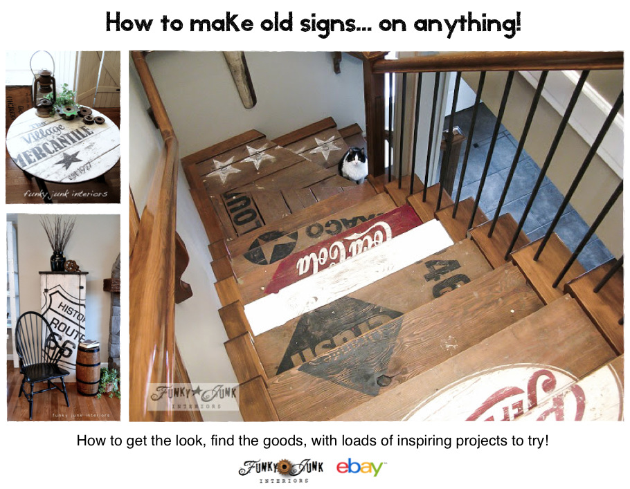 How to make old signs on anything! By Funky Junk Interiors for #eBay