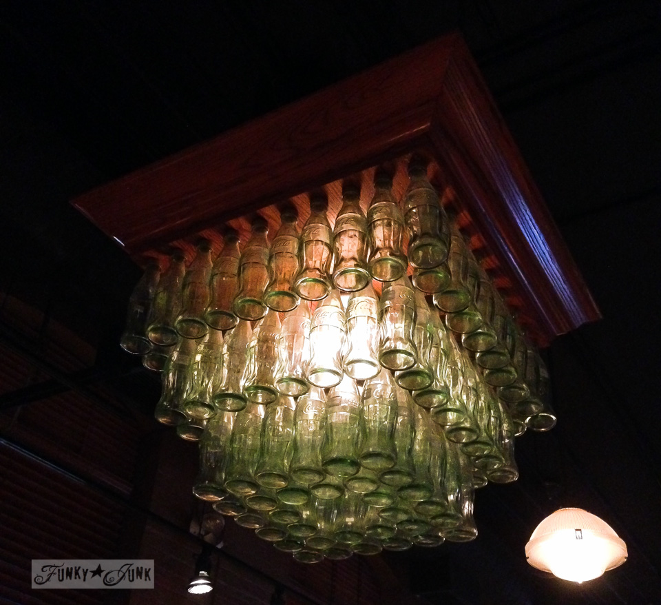 Coke bottle chandelier at Jack Astors in Toronto for Blogpodium / FunkyJunkInteriors.net