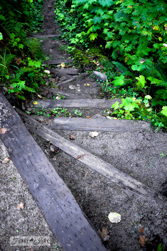 Rustic stairway in garden / A surprising goldmine at a cabin on the river / EcoRetreat.com, via FunkyJunkInteriors.net
