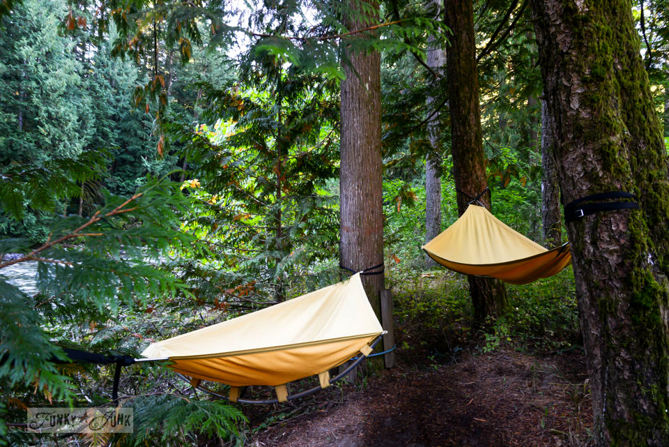 Yellow hammocks / A surprising goldmine at a cabin on the river / EcoRetreat.com, via FunkyJunkInteriors.net