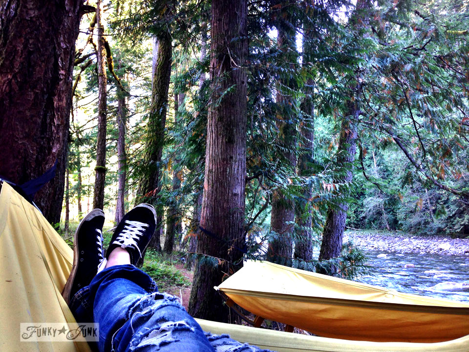 Hammocks by the river / A surprising goldmine at a cabin on the river / EcoRetreat.com, via FunkyJunkInteriors.net