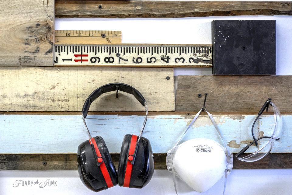 reclaimed scrap wood workshop wall design - FunkyJunkInteriors.net