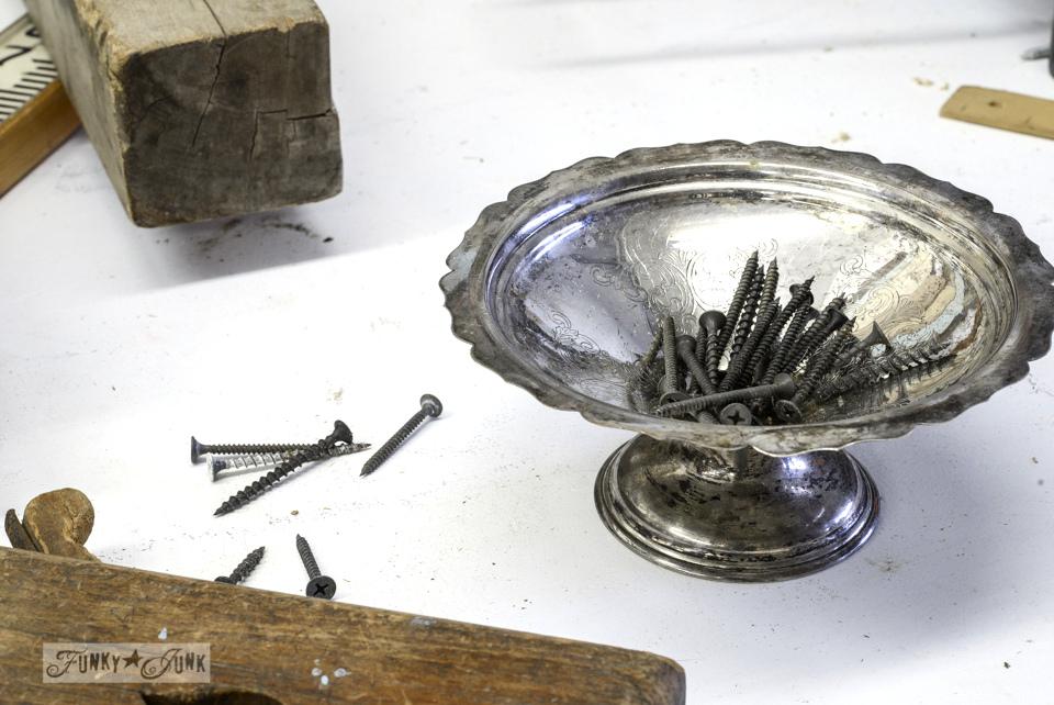 Silver workshop bowl for screw storage - FunkyJunkInteriors.net