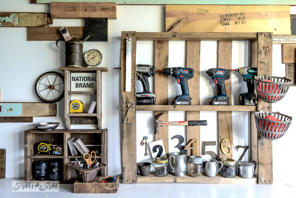 pallet before - click to see after / Organize your tools on an enhanced pallet shelf via FunkyJunkInteriors.net